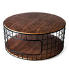 Round Black Wireframe Walnut Top