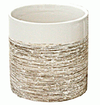 Pot - Small White Textured Pinstripe Aisle
