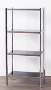 4 Shelf Chrome Black Glass