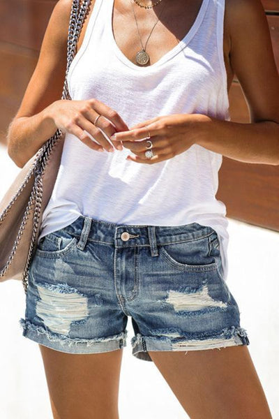 Distressed Cuff Shorts