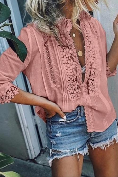 Lace Flowers Embellished Deep V Loose Shirt