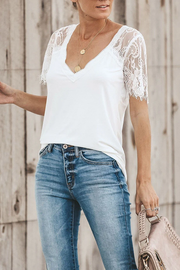 Side Lace Deep V-neck Top T-shirt