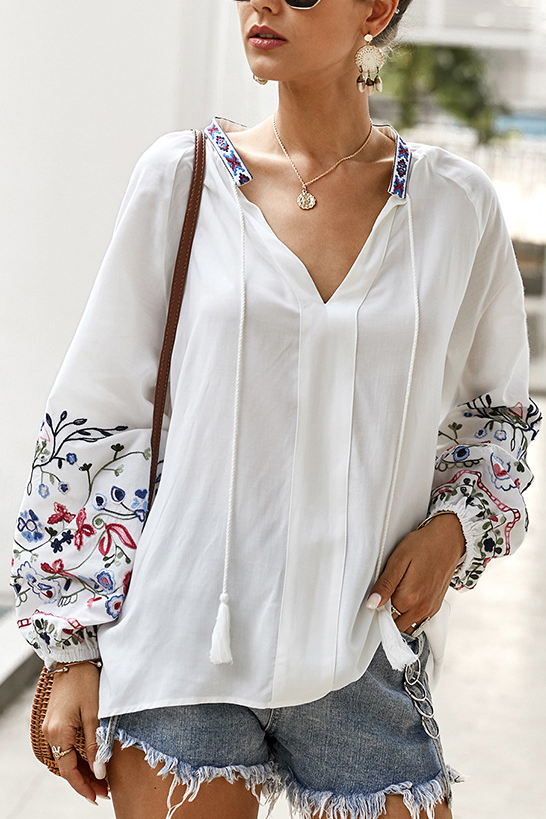 V Neck Printed Casual Top