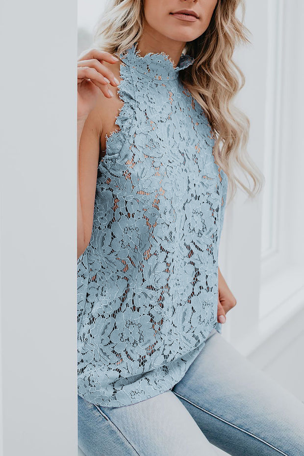 Sleeveless Hollow Lace Top