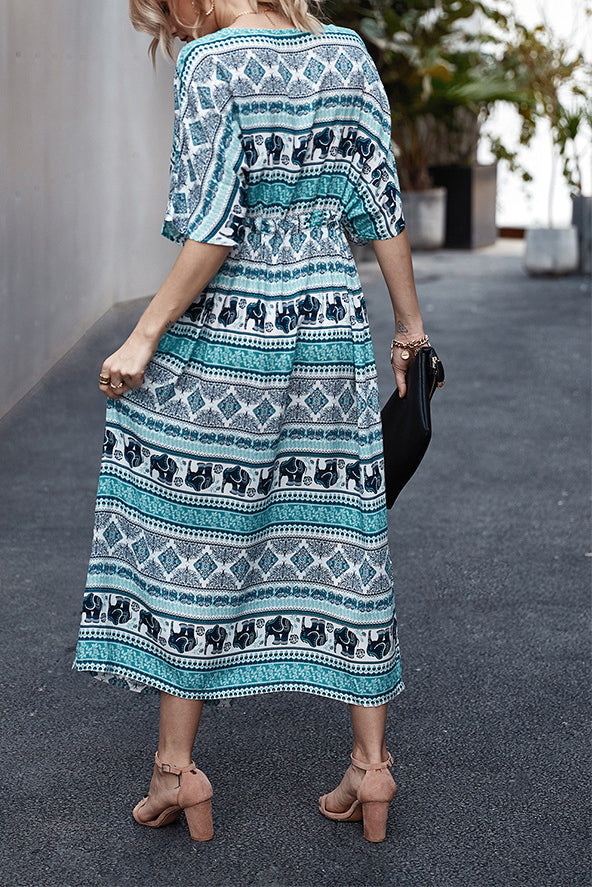 Bohemia Button V Neck Maxi Dress