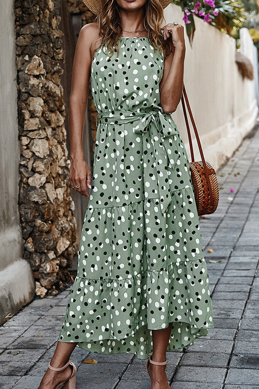 Polka Dot Halter Neck Maxi Dress