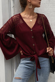 Wide Sleeve Knitted Casual Top