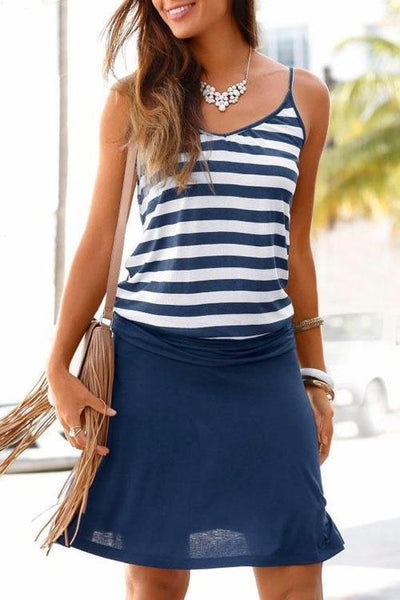 Stripe Patchwork Elastic Dress