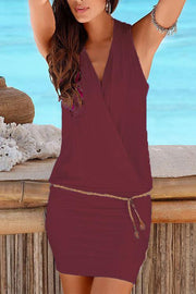 Plain V Neck Belted Holiday Dress