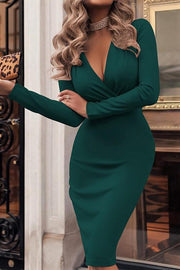 Deep V-Neck Solid Terry Boycon Dress
