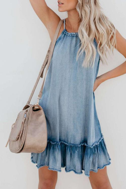 Halter Ruffled Loose Vacation Dress