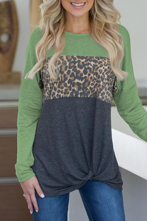Leopard Printed Splicing Blouse(6 Colors)
