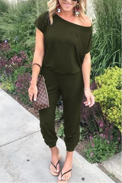 Loose Off Shoulder Elastic Waist Casual Tee Jumpsuit