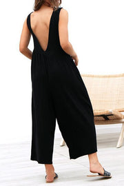 Trendy Solid V Open Back Design Loose Suspender Trousers