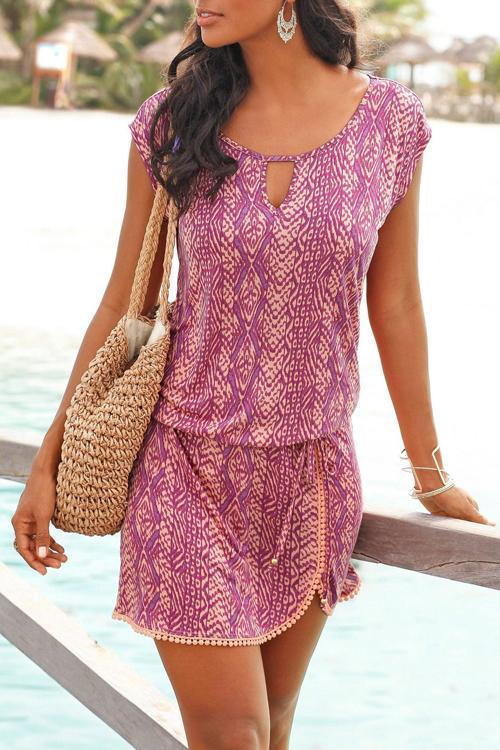 Crochet Hemline Print Dress