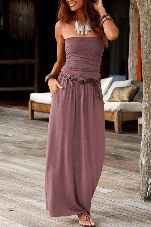 Ruched Strapless Pocket Dress