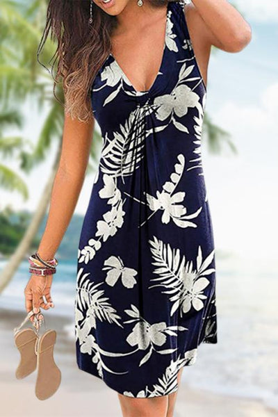 Print Flowy Knot Detail Mini Dress