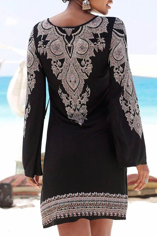 V Neck Bohemian Printed Long Sleeved Dress