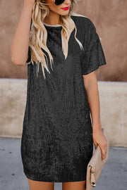 Sequin Joint Short Sleeve Dress