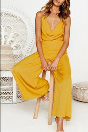 Solid Sleeveless String Jumpsuit