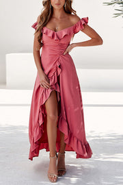 Off Shoulder Ruffles Maxi Dress