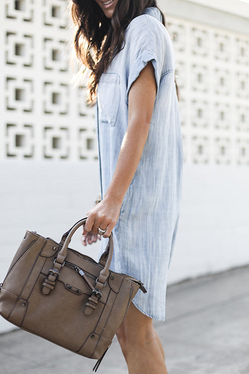 Lapel Pocket Denim Mini Dress