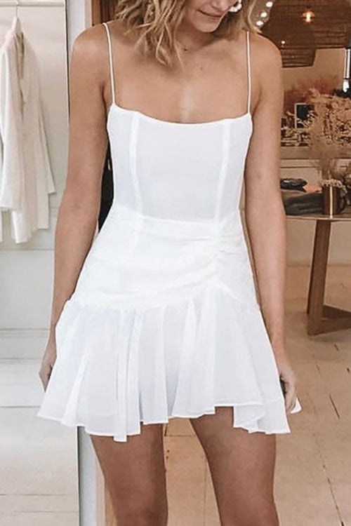 Strap Ruffled Mini Dress