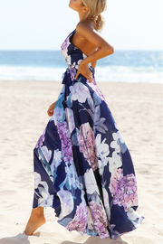 Floral Deep V-neck Maxi Dress