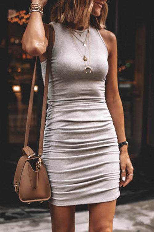 Pleating Sleeveless Mini Dress