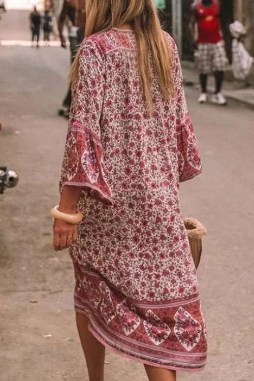 Bohemian Print Half Sleeve Midi Dress