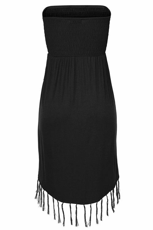 Fringed Cross Strapless Mini Dress