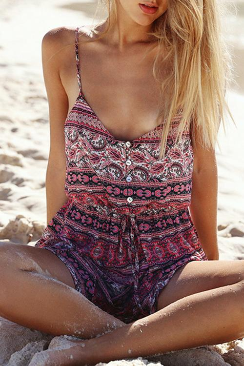 Bohemian Printed Mini Dress