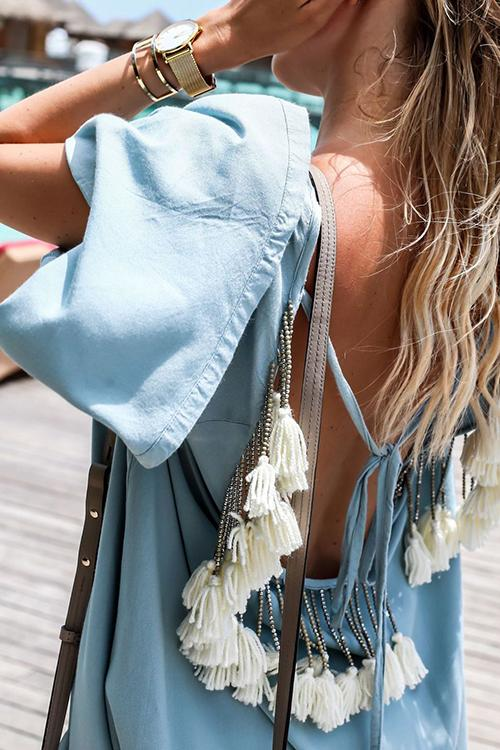 Open-Back Tassel Flared Sleeve Mini Dress