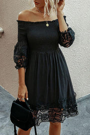 One-Shoulder Backless Solid Lace Dress