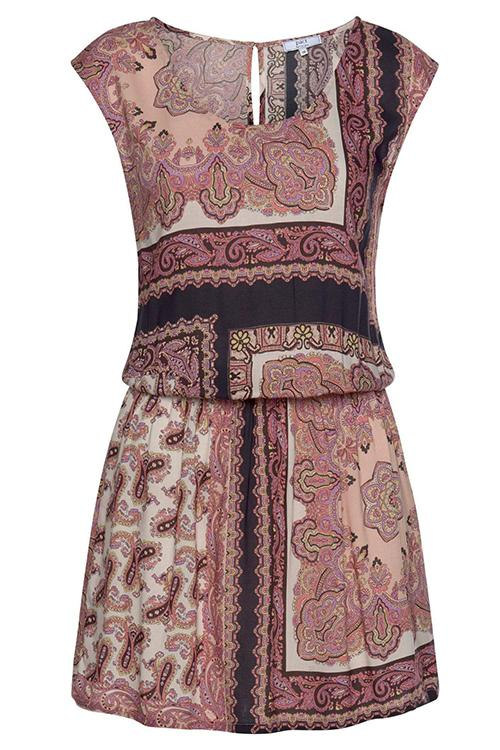 Paneled Printed Elastic Waist Dress