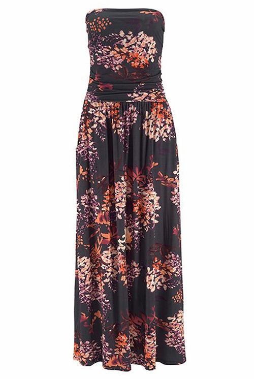Bohemian Print Pocket Strapless Maxi Dress