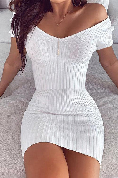 Temperament V-Neck Solid Color Bodycon Dress