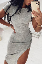 Side Lace Up Asymmetric Dress
