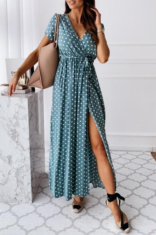V-Neck Bohemian Dot Print Dress