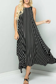 Sleeveless Striped Irregular Vest Dress