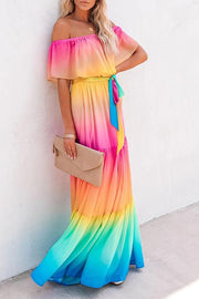 Off Shoulder Ruffle Gradual Change Multicolor Maxi Dress