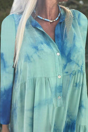 Tie-Dye Lapel Long Sleeve Dress