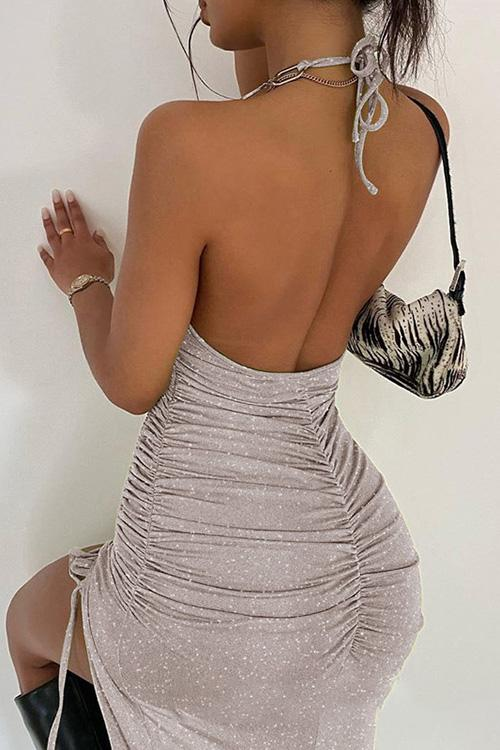 Halter Chain Strap Print Backless Dress