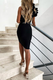 One Shoulder Ruffled Solid Dress