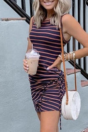 Striped Pleated Bodycon Dress