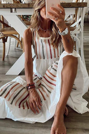 Color Stripe Sleeveless Maxi Dress
