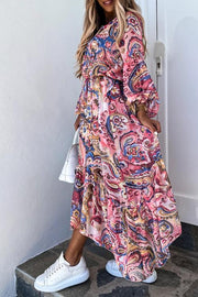 Lantern Sleeve Print Maxi Dress