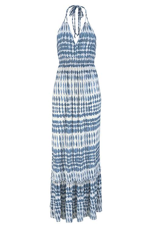 V-Neck Geometric Ethnic Print Maxi Dress