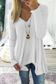 Long Sleeve V Collar Loose Blouse