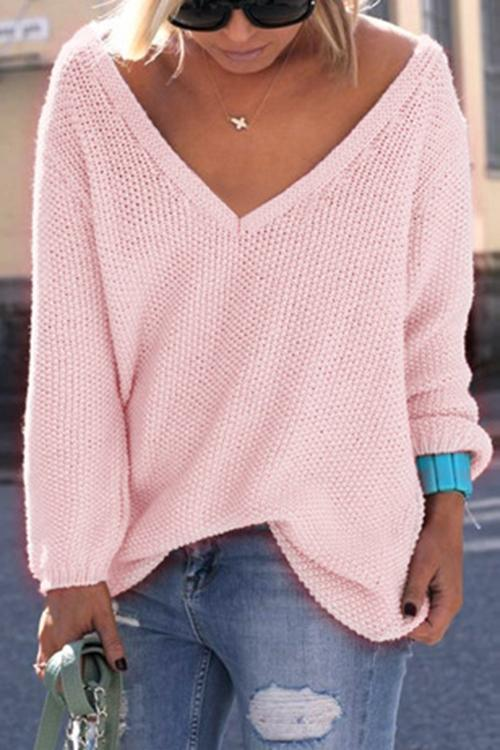V Neck Solid Long Sleeve Sweater